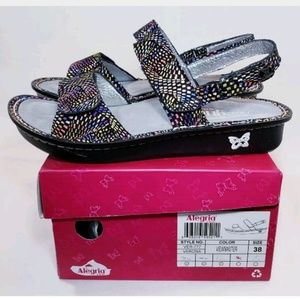 ALEGRIA Leather Sandals, Mosaic Rainbow, 8-8.5